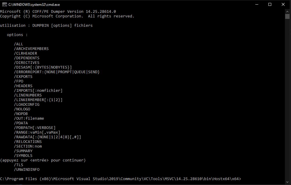 Lister les fonctions d'une DLL inconnue grâce à dumpbin.exe