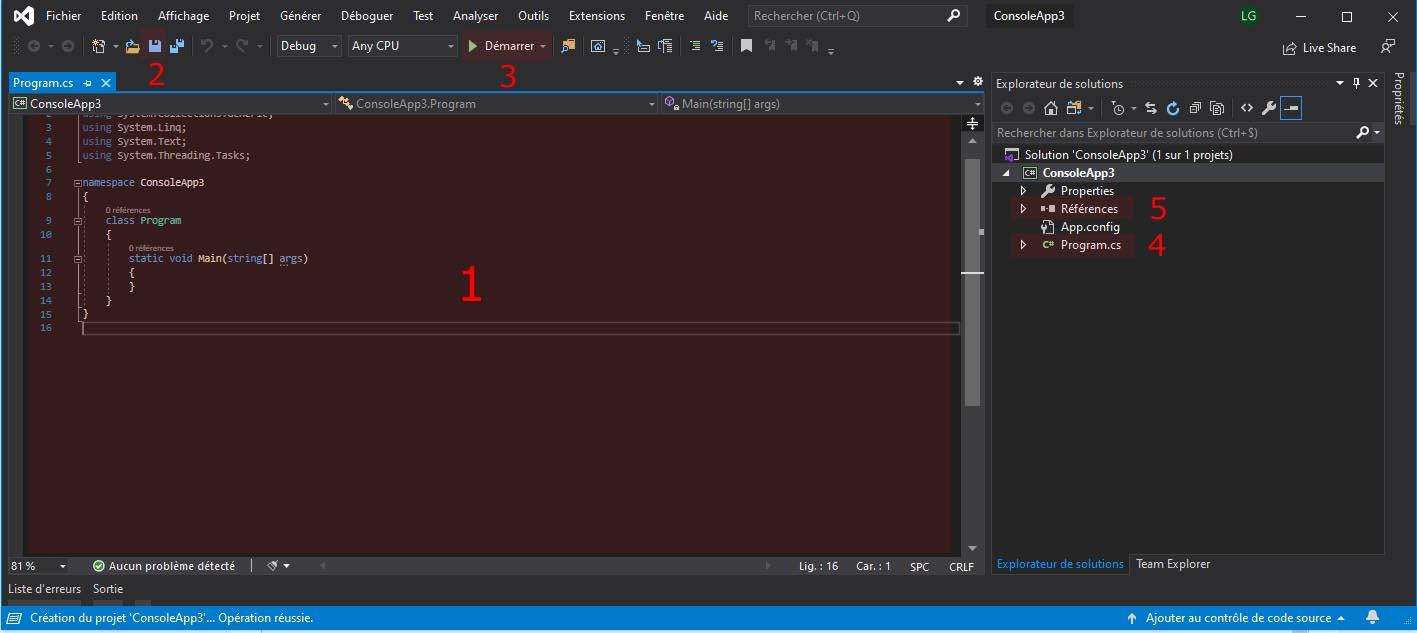 Visual Studio Community C# les bases de l'IDE