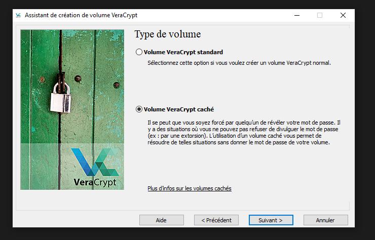 Veracrypt création de conteneur chiffrés étape 2