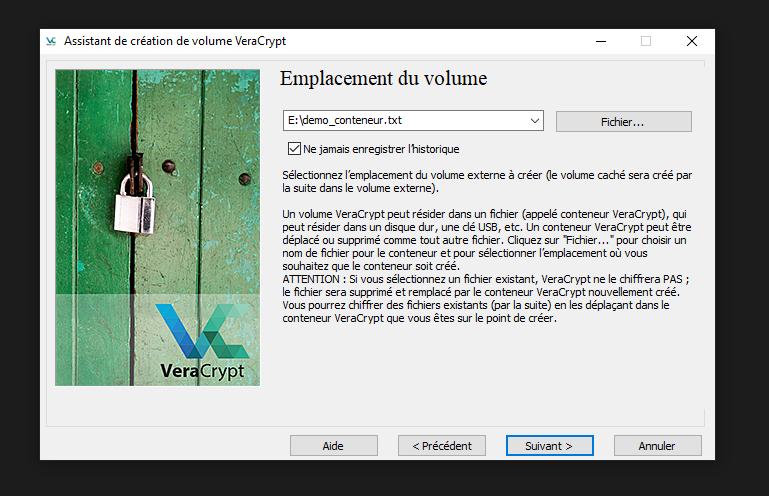 Veracrypt création de conteneur chiffrés étape 4